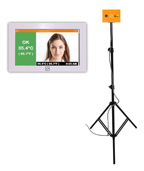 IR Spot sensor with regular camera for EST screening with face recording