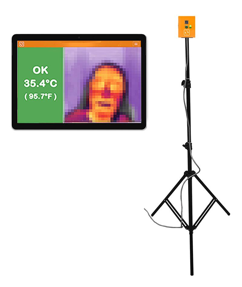 Thermal Camera Sensor modified to monitor skin temperature on tripod