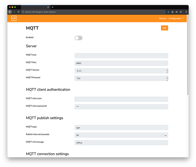 IoT support with MQTT
