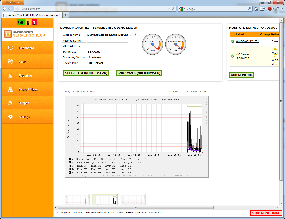 Monitoring Software screenshot