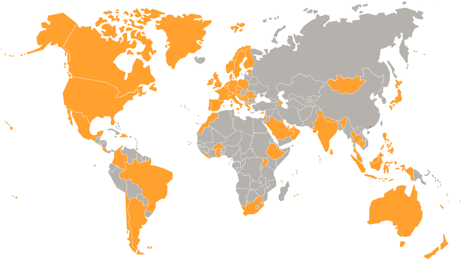 world map showing countries where ServersCheck's products have been installed