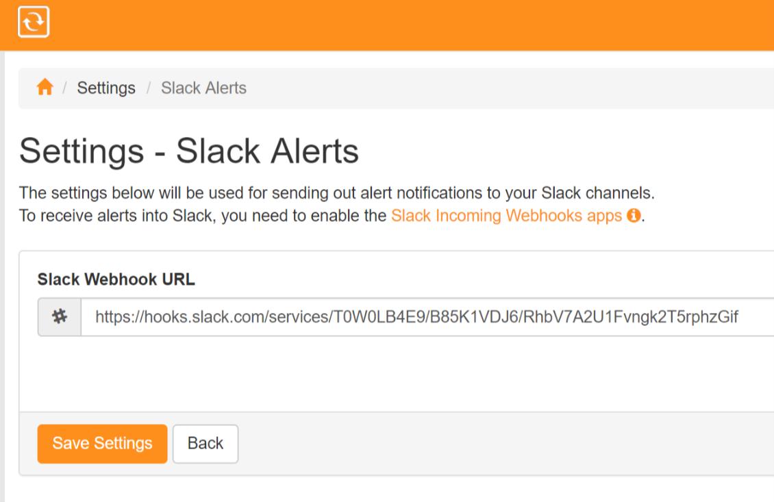 Slack Integration 6 with ServersCheck