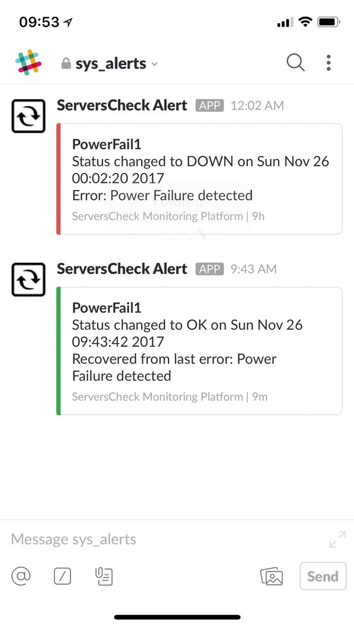 Slack alert example