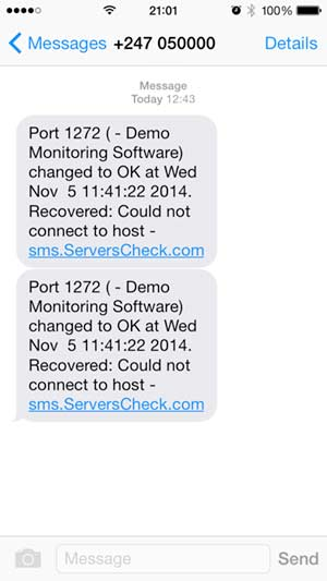 SMS alert example